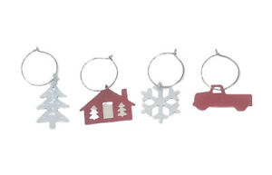 4 Christmas Metal Wine Charm Markers Set Red Truck House White Tree Snowflake