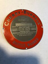 "Metal Cherry Burrell Plaque 4"" Name Plate Bottle Washer Cedar Rapids Iowa"