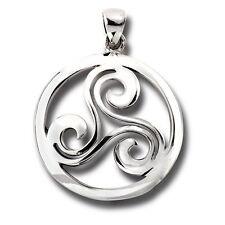 Trinity Triskelion New .925 Sterling Silver Celtic Knot Pendant Men or Women