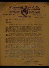 1918 Cousins, May & Company Tls signed by E. J. Trevvett - Richmond Printer
