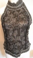 Papel Boutique Evening 100% Silk Heavily Black Silver Beaded Top Blouse Medium M