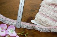 Poly Single Gather CREAM Lace 6mm SALMON PINK SatinThread@Top 5Metres 4cmWideFRL