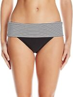 Panache Womens Swimwear Black Size Medium M Striped Band Bikini Bottom $36 272