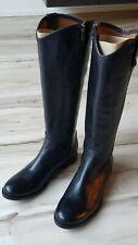 Frye Melissa Button Tall Knee High Zip up Black Leather Riding Boots Women Sz 8