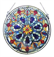 """Stained Glass Window Panel Handcrafted 20"""" Diameter Round Victorian Design"""