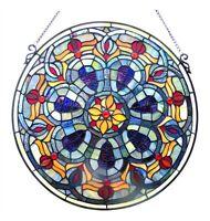 "Matching PAIR 20"" Diamerter Round Victorian Design Stained Glass Window Panels"
