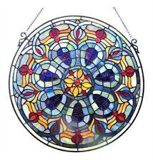 "Handcrafted 20"" Diamerter Round Victorian Design Stained Glass Window Panel"