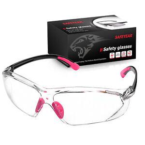 SAFEYEAR Pink Work Schutzbrille Schutzbrille Clear Anti Fog Frauen Halsschnur FM