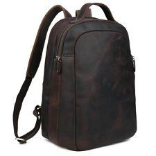 "Herren Leder Weekender 14"" Laptop Rucksack Reise Wandern Schultasche Backpack"
