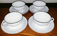Royal Doulton DEBUT 4 TEA CUPS & 4 SAUCERS SET MCM GRAY DESIGN PLATINUM TRIM