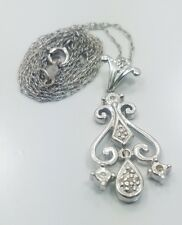 Beautiful Modern 14k White Gold Ladies Diamond Drop Necklace and Pendant