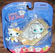 Littlest Pet Shop TABBY CATS w Litter Box, sardines 52 53  VHTF 2004