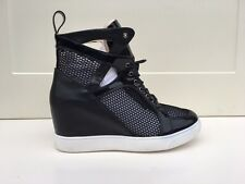 LADIES WOMENS LACE UP BLACK PATENT HIDDEN WEDGE NET TRAINERS SHOES SIZE 6
