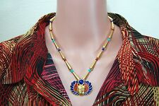 """Egyptian Jewelry King Tut 18"""" Necklace with Enameled Winged Scarab with Lapis"""