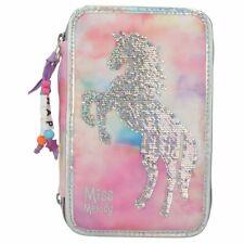 Depesche MISS MELODY White Horse TRIPLE FILLED PENCIL CASE Sequins Batik