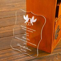 50-Personalized Engraved Love Birds Acrylic Wedding Invitations Cards,Wish Well