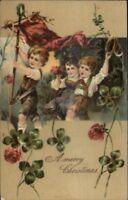PFB Christmas - Christmas w/ Homemade Flag c1910 Nicely Embossed Postcard