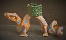 Mexican Terracotta Pottery Lizard Clay Folk Art Sculpture Candle Holder
