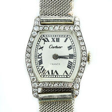 Vintage Cartier Ladies Diamond Tortue Platinum on Gay Freres Bracelet