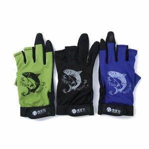 1 Pair Nonslip Palm 3 Half Finger 2 Full Fingers Fishing Gloves