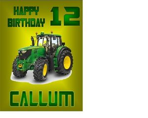 PERSONALISED TRACTOR FARM A5 BIRTHDAY CARD ANY NAME AGE GREETING OCCASION