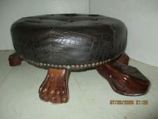"""Faux Brown Leather & Wood Tufted Turtle Ottoman Footstool 7-1/2"""" T  x 8-1/2"""" W"""