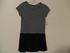 NWT Faded Glory Girls Fashion Dress Marsha M (7-8) Black Stripe White crew neck