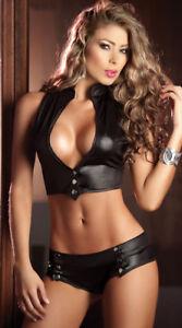 Women Sexy Bodysuit Tights Club Wear Patent Leather Striper Nightwear Lingerie