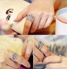 #9008 Women's Fashion Queen Crown Pattern Ring Set Rhinestone Two-piece Rings