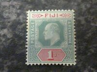 FIJI POSTAGE & REVENUE STAMP SG112 1/- GREEN & CARMINR LIGHTLY MOUNTED MINT