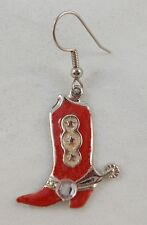 Boot with Stone Hook Earring V5 Vintage Single (One Only) Red Cowgirl