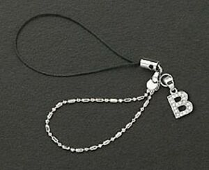 Cell Phone Charm Strap Sterling Silver Dangle Crystal Letter B Free Shipping