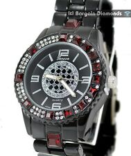 ladies red crystals shiny black fashion dress watch black bling dial bracelet