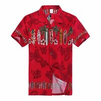 Men Aloha Shirt Cruise Tropical Luau Beach Hawaiian Party Red Surf Boards Palm