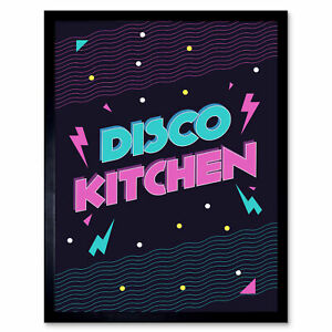 Disco Kitchen 80S Art Print Framed Poster Wall Decor 12X16 Inch