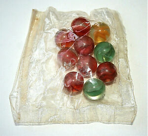 Dime Store Bag of 10 Cats Eye Colored Glass Marbles 1960s NOS New in Sealed Bag