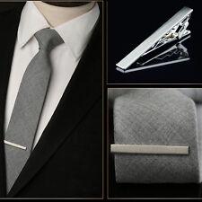 Hombre Plata Clip Alfiler De Corbata Broche Agujas Necktie Tie Bar Pin Corchete