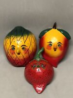 Set of 3 Mexican Folk Art Coconut Shell Mask Hand Painted Fruits