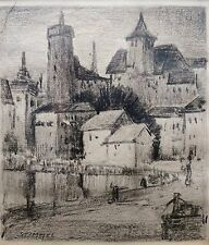 """GEORGE STIMMEL (LISTED AMERICAN) - PAIR CHARCOAL DRAWINGS - """"EUROPEAN VILLAGE""""."""