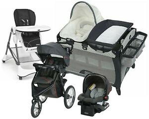 New Baby Jogging Stroller with Car Seat Travel System Combo Playard High Chair