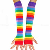 New Stripe Rainbow Fingerless Gloves Warmer Punk Gothic Womens Long Arm Gloves