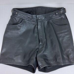 Harley Davidson Women's Black Leather Shorts, Size 38/10 see measurements