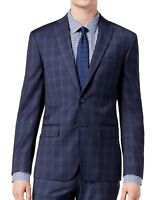 DKNY Men Suit Separate Blue Size 36 Plaid Notch Collar Two Button Wool $525 #083