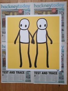 STIK 'Holding Hands' Poster Print. YELLOW. SIGNED.