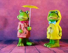Dekofiguren  Frosch  Frösche mit  Regenschirm Garten Regenjacke Paar - Balkon