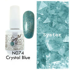 SYSTER 15ml Nail Art Soak Off Color UV Gel Polish N074 - Crystal Blue