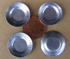 1:12 Scale 4 Round Tin Tray's Dolls House 2.2cm Metal Plates Food Accessory M