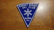snowy ridge ski club Milford new jersey skiing patch 1960's  bx F#2