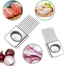 Kitchen Onion Tomato Holder Slicer Stainless Steel Vegetable Cutter Gadgets #UK