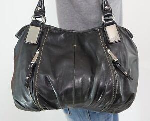 TIGNANELLO Med Lrg Faded Black Leather Shoulder Hobo Tote Satchel Purse Bag